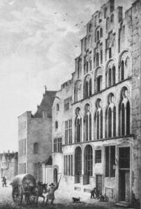 Lange, Ludwig, Overstolzenhaus, Rheingasse 8, Lithographie, um 1843 (Köln, Kölnisches Stadtmuseum. (Foto: © Rheinisches Bildarchiv Köln, rba_mf134647)